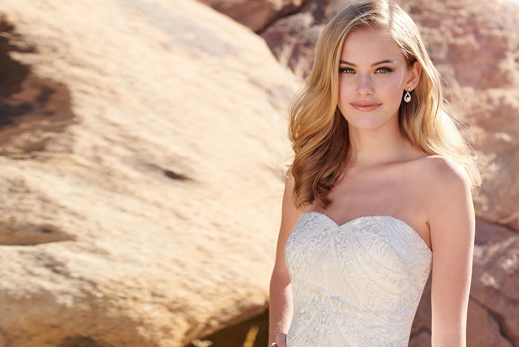 Blonde in Lace Gown