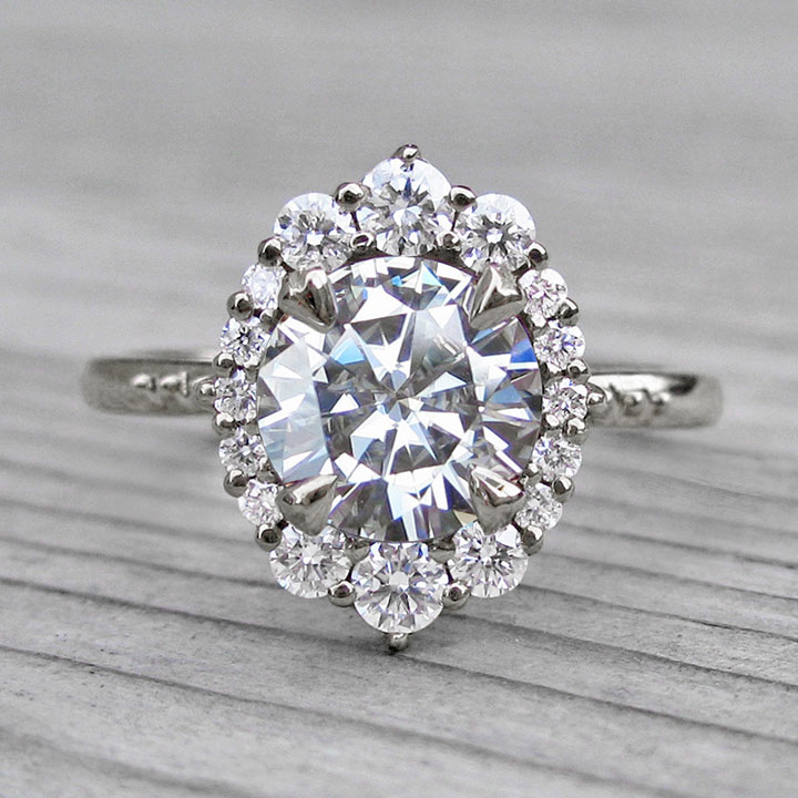 Vintage Inspired Moissanite Engagement Ring