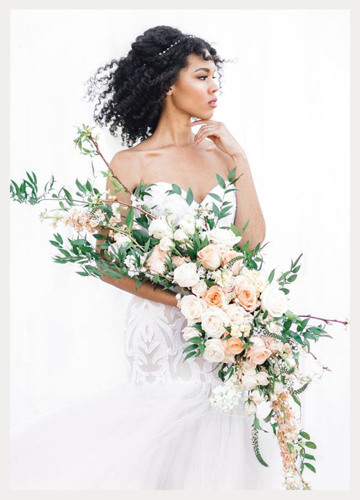 Elegant Elongated Wedding Bouquets by Intrigue Designs