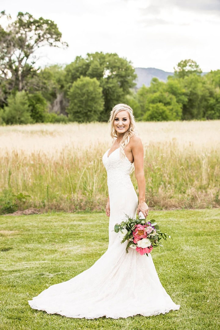 Stunning Summer Bride In Enchanting by Mon Cheri Lace Spaghetti Strap Gown