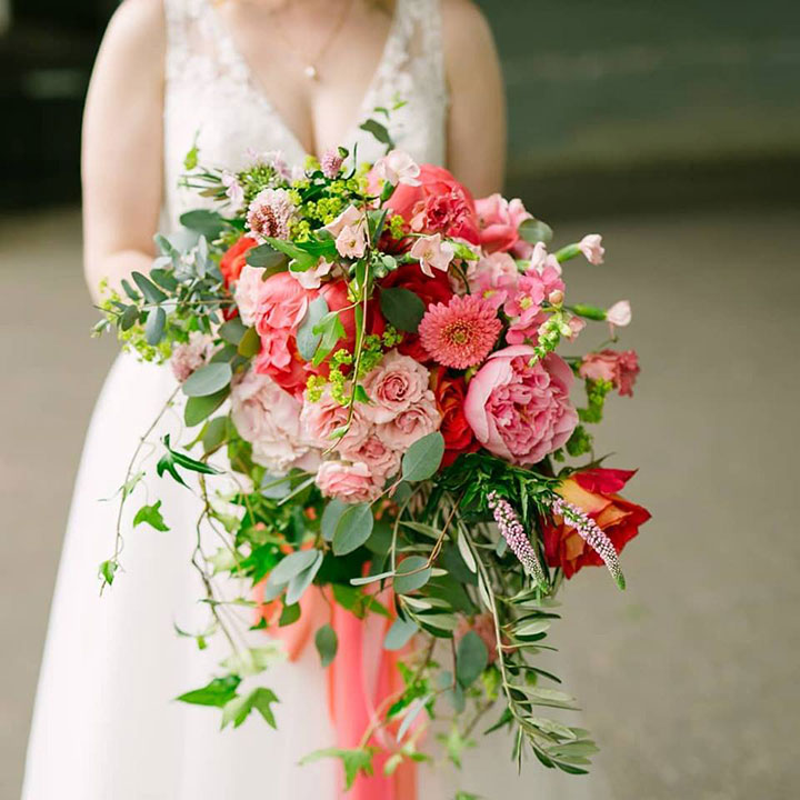 Bright Pink Late Spring Bridal Bouquet