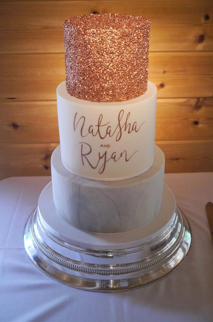 Modern Rose Gold Marble Wedding Cake
