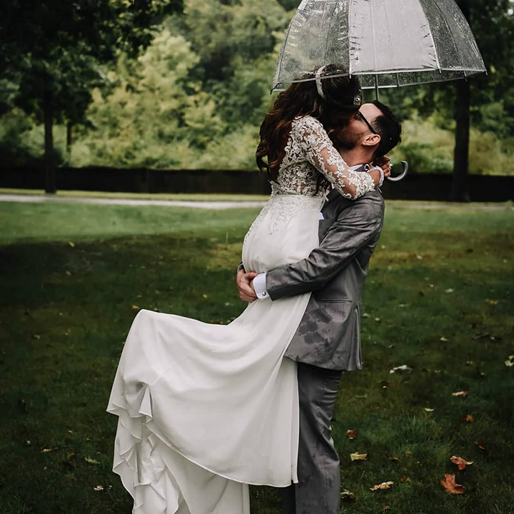 Rainy September Wedding Wearing Enchanting by Mon Cheri