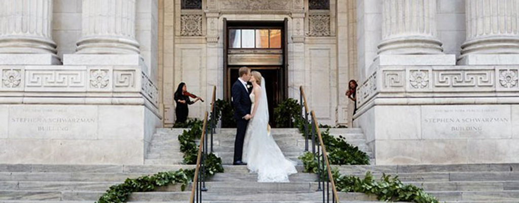Yards of Garland Create A Grand Entrance For Wedding