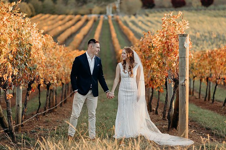 Vineyard Wedding In Autumn Wearing Enchanting by Mon Cheri