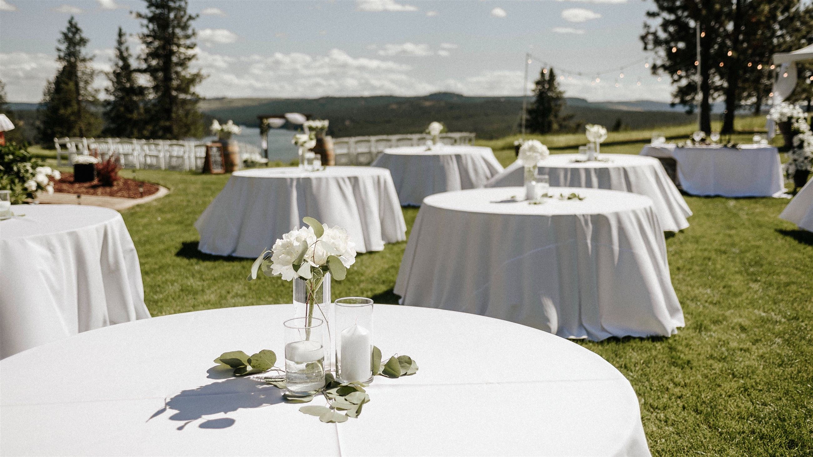 wedding reception overlooking mountains