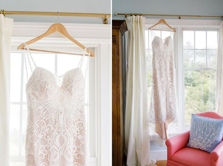 2 images of white wedding dress hanging in window